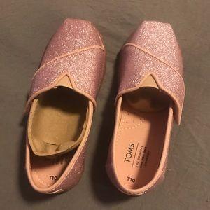 TOMS Girl's Classic Ballet Pink Glitter